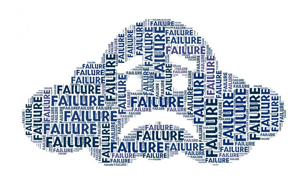 The word 'Failure' repeated to form the shape of a cloud with a sad face.