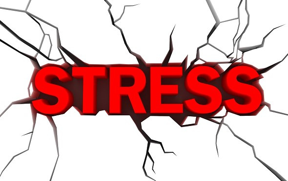 The word Stress in red type surrounded by fracture lines